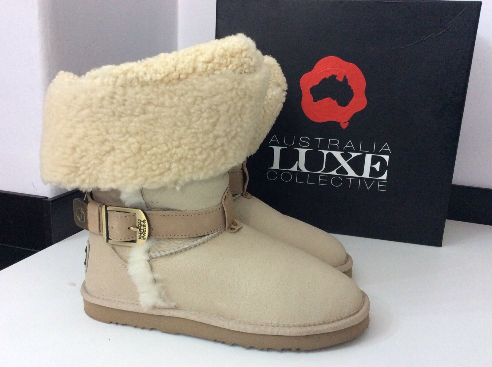 Australian Luxe Collective Stiefel NEW Off Uk Weiß Suede Sheepskin Us8 Uk Off 6 Rrp 5d6ccb