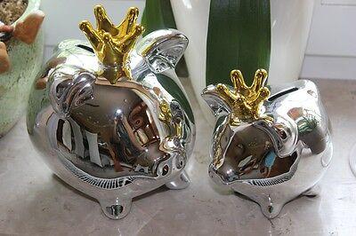 Sparschwein silber mit goldener Krone♥wählb. 2 Grössen♥aus Keramik♥Spardose