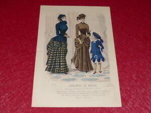 MODES-XIXe-GRAVURE-ANCIENNE-Journal-de-Modes-Robes-chapeaux-Fashion-1882-5