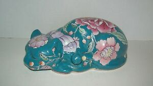 Hand Painted Chinese Porcelain Teal Floral Sleeping Cat