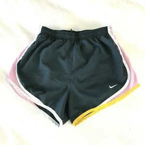 Nike-FitDry-Womens-Lined-Running-Athletic-Shorts-Gray-Pink-Stripe-Size-XS