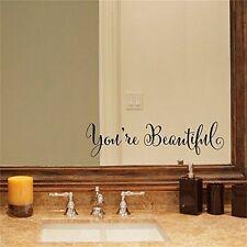 YINGKAI You're Beautiful Quote Mirror Decal Vinyl Decal Living Room Vinyl
