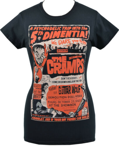 WOMENS PSYCHOBILLY T-SHIRT THE CRAMPS GIG GARAGE HORROR PUNK LUX S 2XL