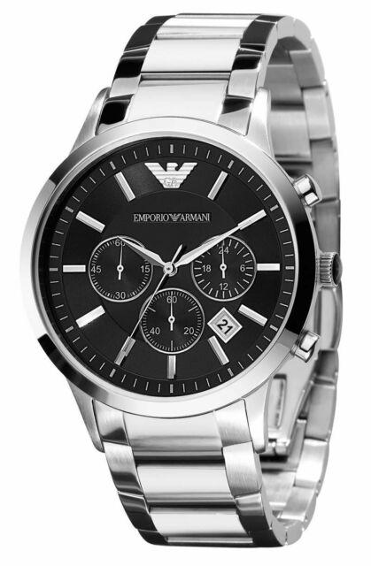 Emporio Armani Classic Silver S/Steel Black Dial Chronograph Men's Watch AR2434