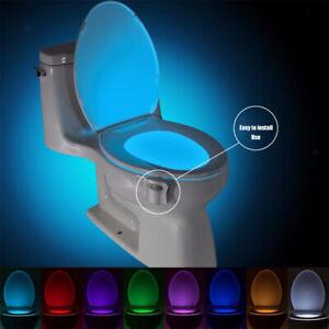 LED Toliet Bathroom Lamp Auto Activated Motion Sensor 8 Color Bowl Light