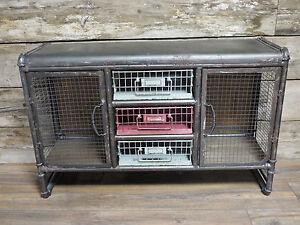 Armario-de-almacenamiento-Gris-Industrial-Metal-Vintage-3-Cajones-2-Puertas-Mesa-103-Cm