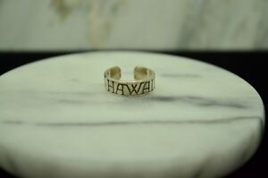 925-STERLING-SILVER-HAWAII-WITH-PALM-TREES-TOE-RING-BAND-SIZE-3-25-22299