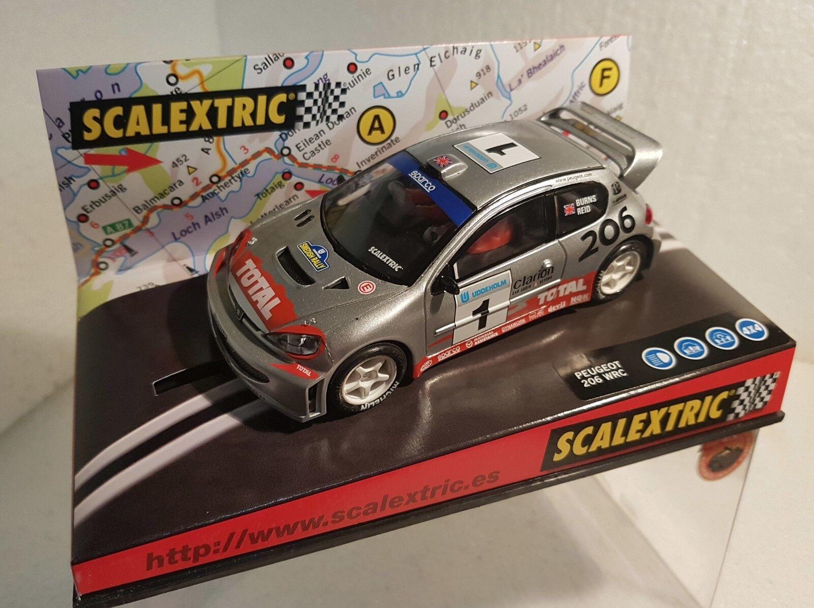 Qq 6109 SCALEXTRIC PEUGEOT 206 WRC SWEDISH RALLY '02 BURN