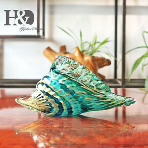 Hand-Blown-Glass-Murano-Art-Style-Seashell-Conch-Sculpture-Ocean-Multi-color