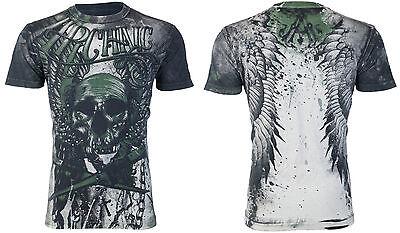Archaic AFFLICTION Men T-Shirt CADAVEROUS Skull Wings Tattoo Biker UFC M-4XL $40