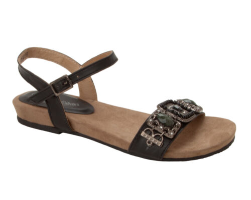 WOMENS BLACK LEATHER LINED BEADED BOHO SUMMER BEACH EVENING SANDALS LADIES SIZE