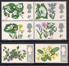 GB 1967 sg717p-22p British Wild Flowers Phosphor set MNH