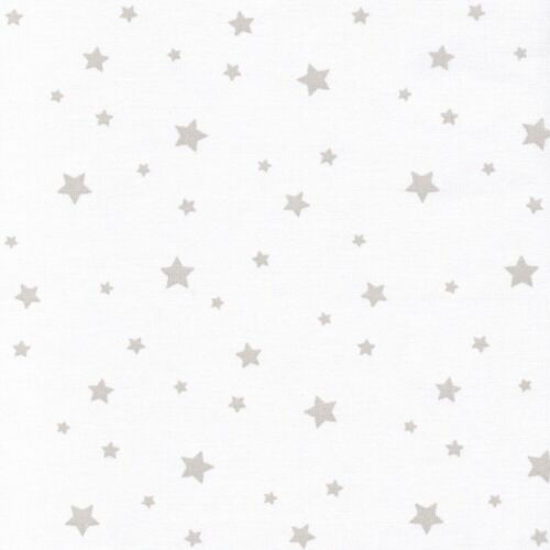 Pale Putty White Etoile Stars 100/% Cotton Fabric Modern Scattered Star