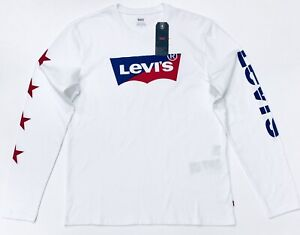Levis-Men-039-s-Long-Sleeve-Graphic-T-Shirt-In-White-Blue-Red
