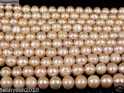 Natural Freshwater Pearl Freeformed Potato Beads 9mm - 10mm  Rose Peach 15''