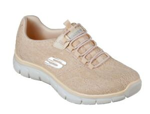 new style f6bce ba6cf Details zu Skechers NEW Empire Spring Glow peach lace comfort slip on  trainers sizes 3-8