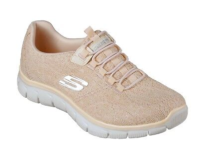e0c450c2aa03 Skechers NEW Empire Spring Glow peach lace comfort slip on trainers sizes  3-8