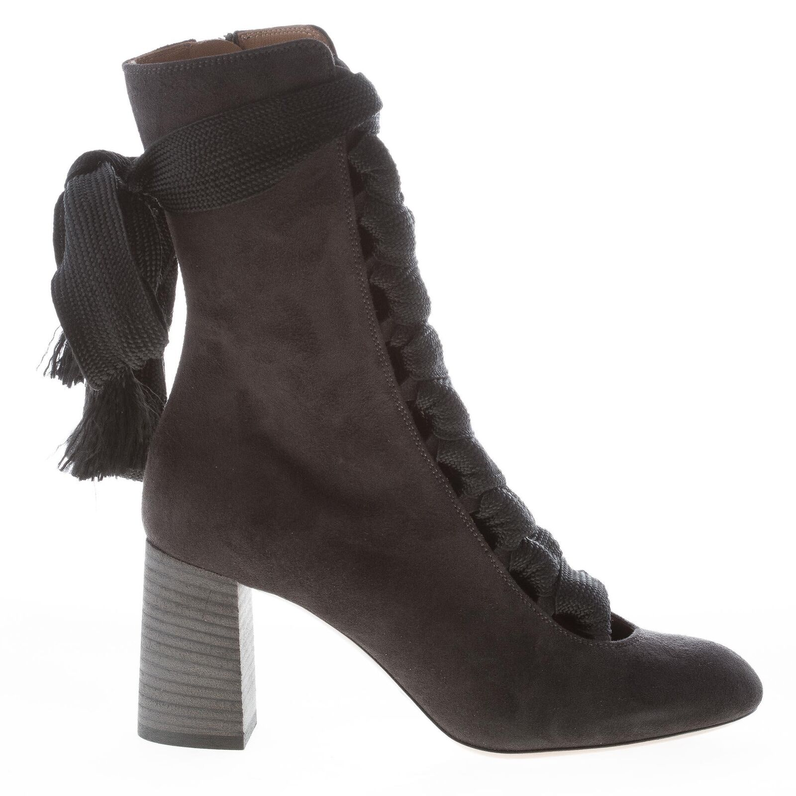 CHLOE' women shoes Harper black suede round toe laced ankle boot CH25533E01
