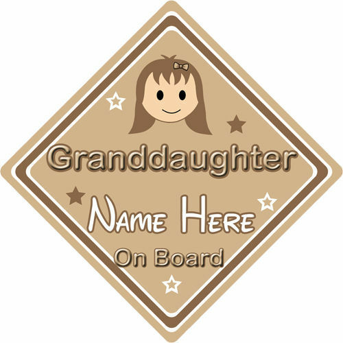 Personnalisé enfant//bébé à bord voiture signe ~ petite fille à bord ~ brown