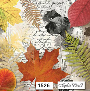 Two Individual Paper Luncheon Decoupage Napkins Autumn Leaves Foliage