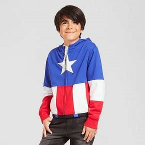Captain America Hoodie Marvel Zip Up Hoodie Youth size XS 4-7 US Seller FreeShip
