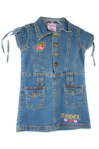 Blue-Jean-Dress-W-Pockets-and-Emblishments-Size-2-by-2B-Real