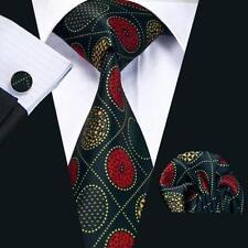 Black 100% Pure Silk Neck Tie Cuff-links & Handkerchief Set Gold & Red Pattern