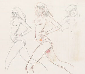 Peter Collins ARCA - c.1970s Graphite Drawing, Dynamic Nude Studies
