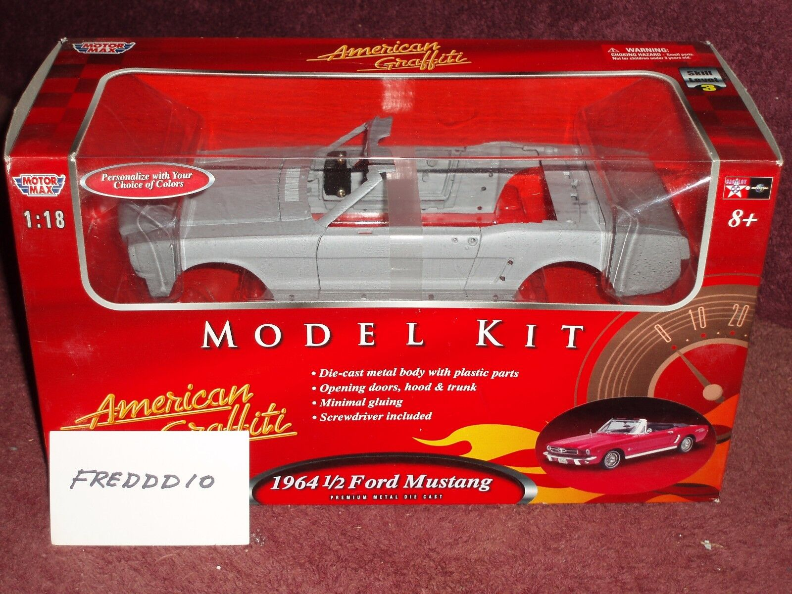 MOTOR MAX 1964 1 2 FORD MUSTANG CONV CONV CONV MODEL KIT 1 18 PRIMERED SKILL LEVEL 3 7cce36