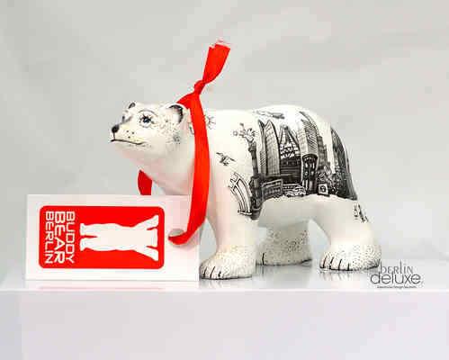 Buddy Bear Berlin BD III Grand Nouveau//Neuf dans sa boîte ami Nouveauté Noir Blanc Ours