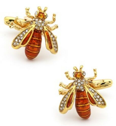 DIAMANTE  BEE CUFFLINKS SHIRT BEEKEEPER BUMBLE WASP INSECT FLY INSECT BEES v3 UK