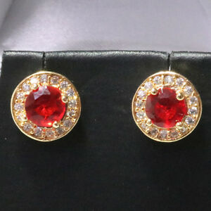 Elegant-Red-Round-Ruby-Diamond-Halo-Stud-Earrings-Gold-Plated-Jewelry-Gift