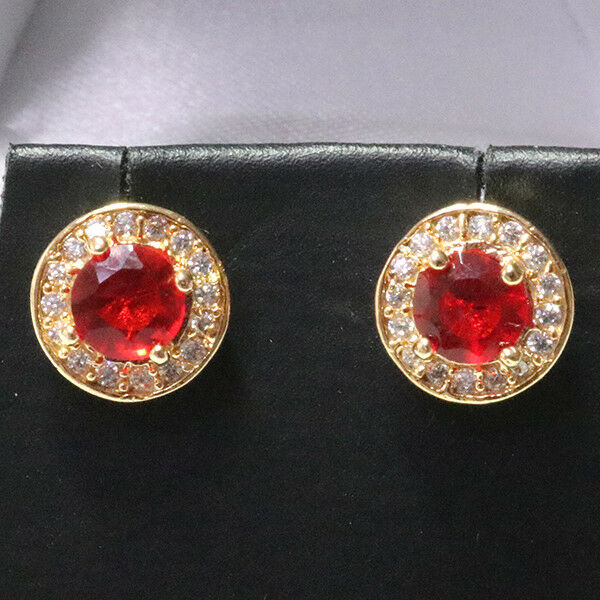 Elegant Red Round Ruby Diamond Halo Stud Earrings Gold Plated Jewelry Gift