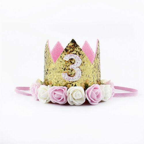 Birthday Crown Flower Tiara Headband for Baby Girls Party Hair Accessories