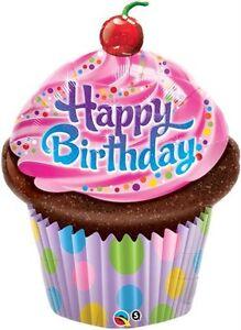 """14"""" Decorazione Festa Buon Compleanno Cupcake Design Aria Riempire Foil Balloon  </span>"""