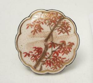 FINE-ANTIQUE-JAPANESE-SATSUMA-HANDPAINTED-BELT-BUCKLE-SILVER-BACKED-SIGNED