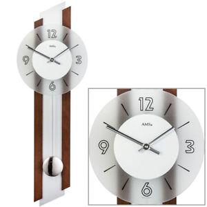 AMS-quarzo-pendolo-orologio-da-parete-orologi-legno-di-Noce-Vetro-minerale-NUOVO