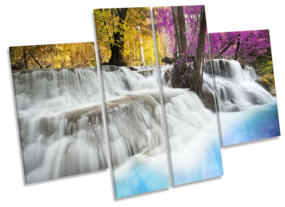 Forest Sunset Waterfall Bild CANVAS Wand Kunst Four Panel