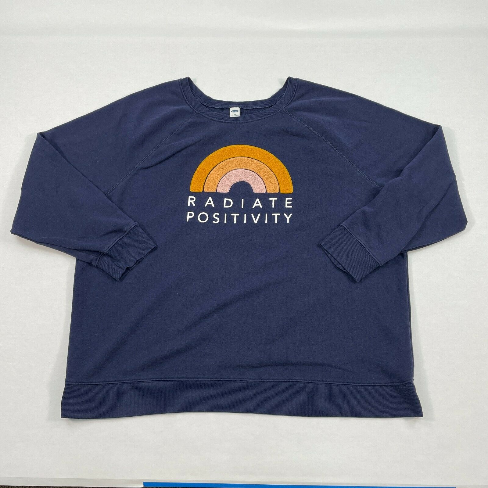 Old Navy Sweatshirt Women's XXL Scoop Neck Radiate Positivity Rainbow Blue