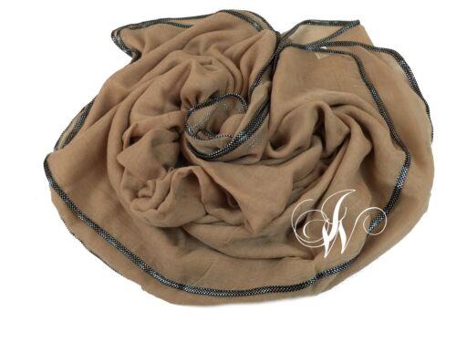 Plain Hijab//scarf With Silver Decoration