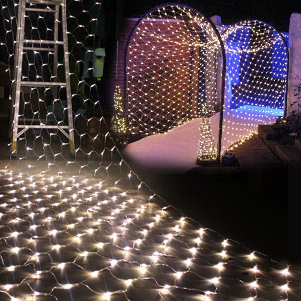 Bianco Caldo Lampadine LED Rete Finestra Rete Esterno Interno Natale Luci