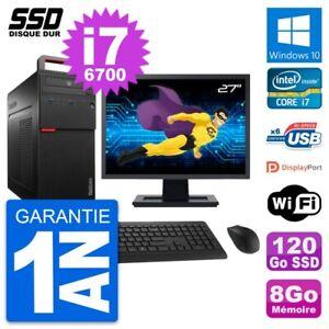 """PC Tour Lenovo M700 Ecran 27"""" Intel i7-6700 RAM 8Go SSD 120Go Windows 10 Wifi"""