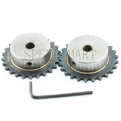 2 pcs 12mm Bore 20 Teeth 20T Metal Pilot Motor Gear Roller Chain Drive Sprocket