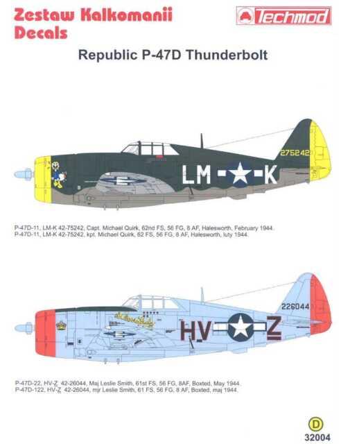 Techmod Decals 1//72 REPUBLIC P-47D THUNDERBOLT U.S Fighter
