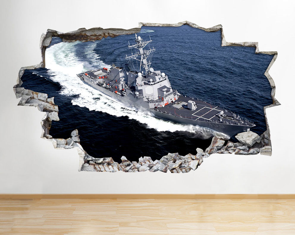 F640 destroyer de la marine US Boat navire Autocollant Chambre 3D Vinyle enfants