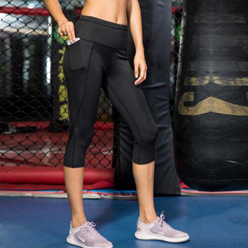 Womens Gym Yoga Workout Fitness Active Compression Capri Leggings Pants Pockets