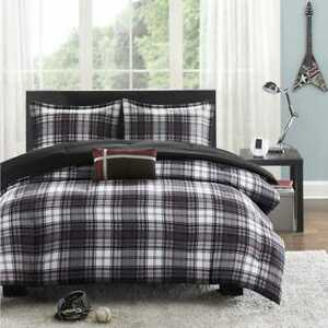 Mi-Zone-Harley-Reversible-3-Pc-Comforter-Set-Black-Plaid-Twin-Twin-XL
