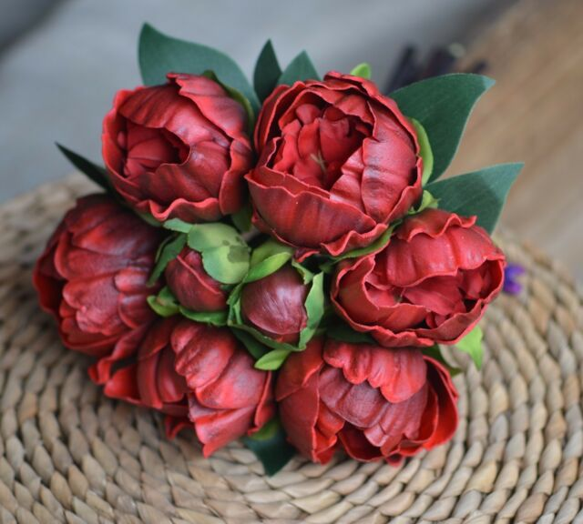 Real Vs Fake Flowers Wedding: Dark Red Peonies Real Touch Flowers For Silk Bridal