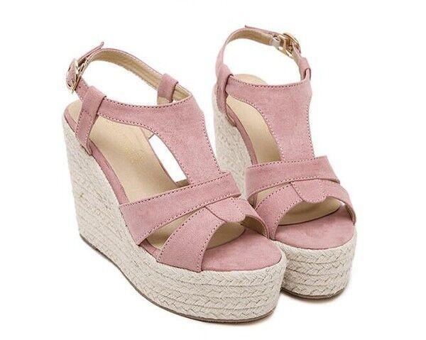 Schuhe ciabatte sabot Sandaleei tacco zeppa 11.5 cm rosa corda  elegante CW861