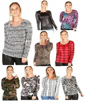 New Wet Look Leopard Camouflage Skull Print Short Sleeve Ladies Crop Top